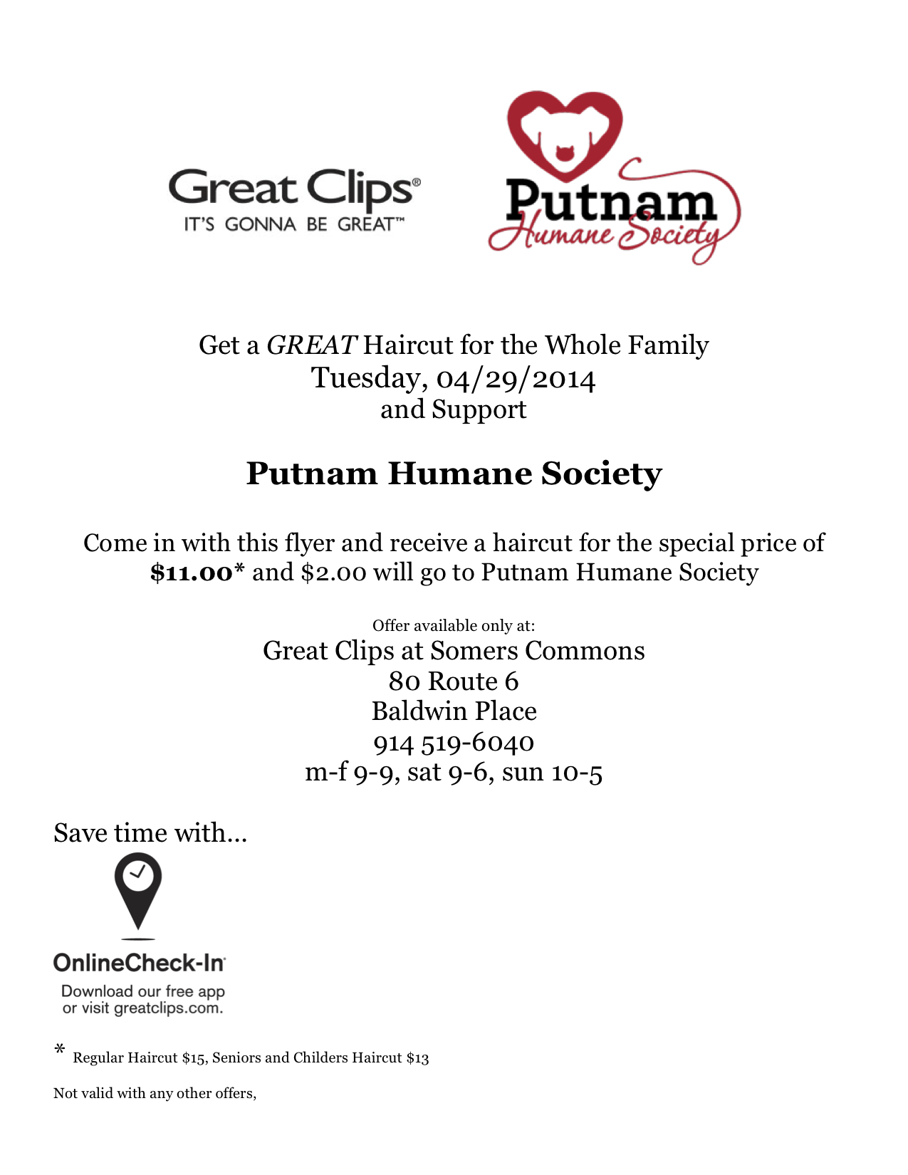 Upcoming Events Great Clips Putnam Humane Society Day Putnam