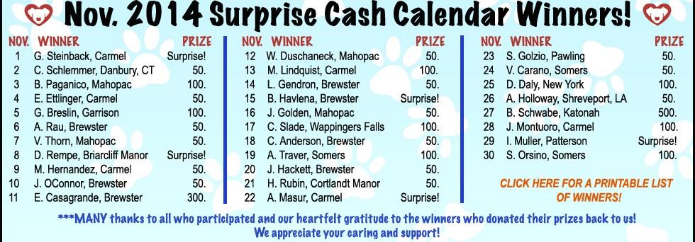 November 2014 Cash Calendar Winners!