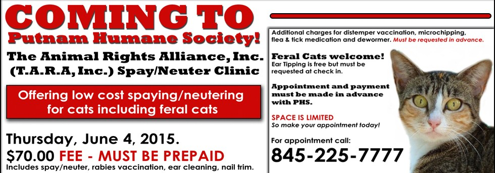 Low Cost Spay Neuter Clinic for Cats coming to PHS!