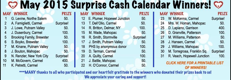 May 2015 Cash Calendar Winners!