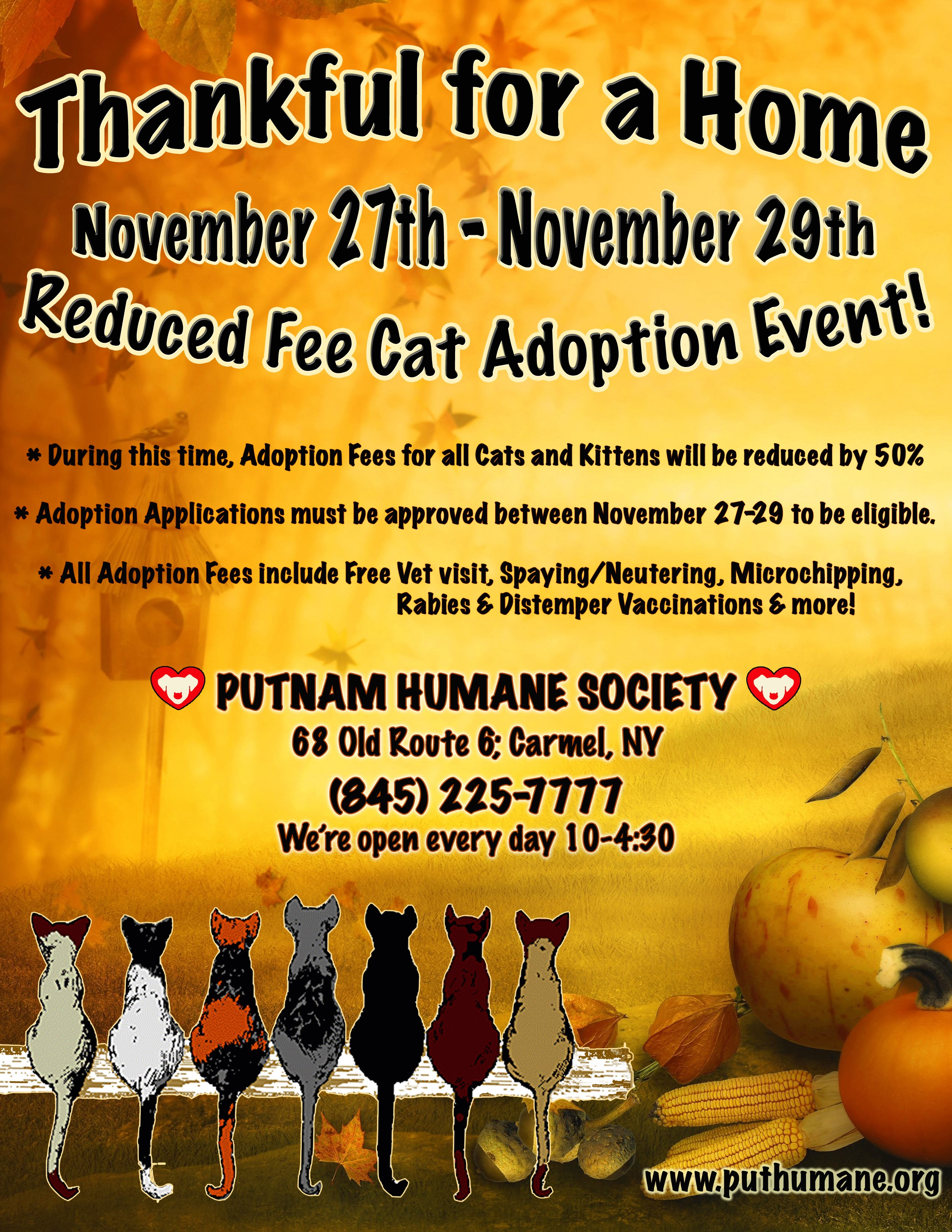 Upcoming Events Thankful For A Home Reduced Fee Cat